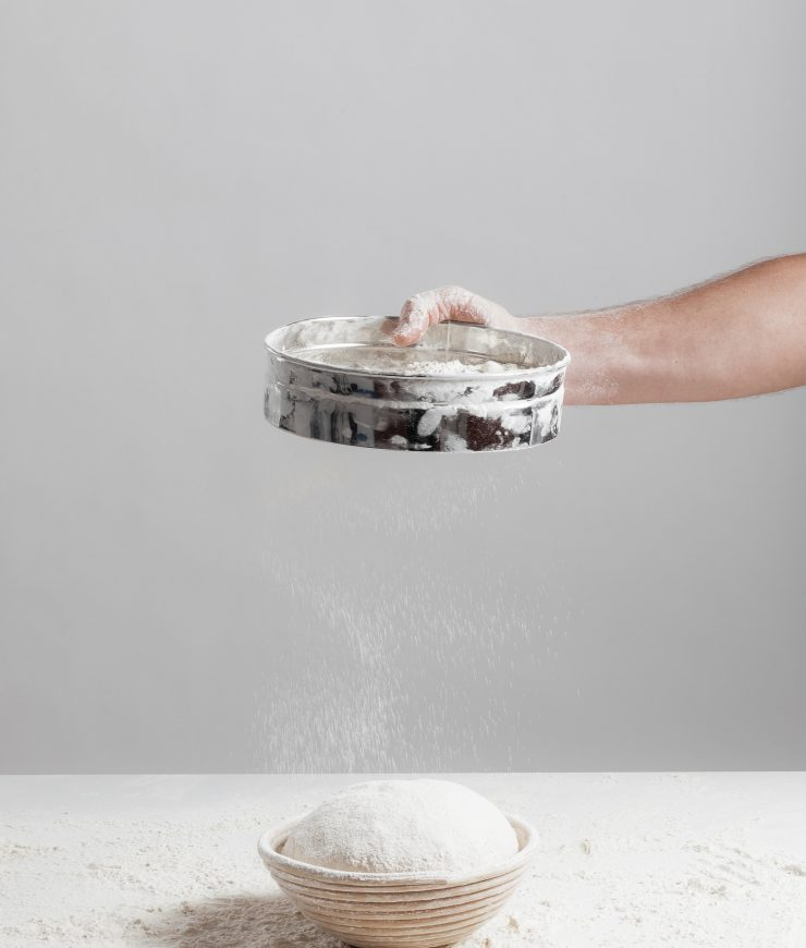Sifting flour for baking
